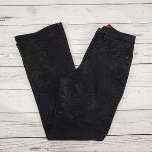 Gloria Vanderbuilt Black Floral Denim Jeans 10